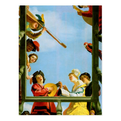 Musical Group on Balcony Classic Painting Postcard