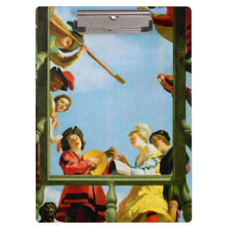 Musical Group on Balcony Painting Clipboard