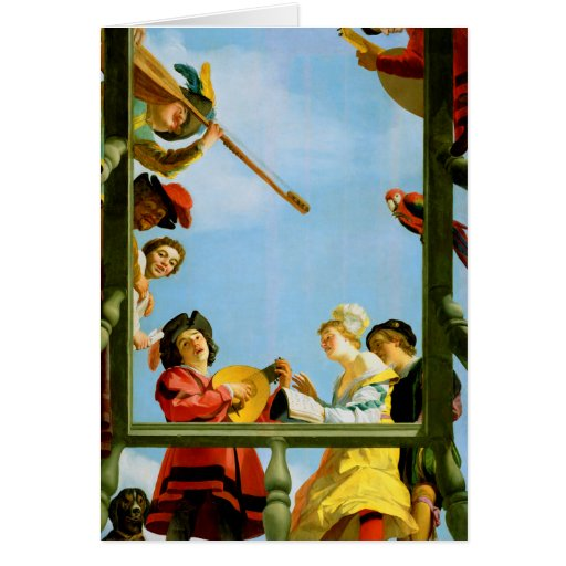Musical Group on Balcony Painting Greeting Card