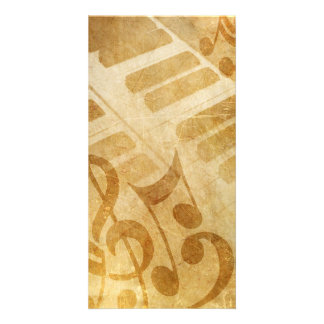 MUSICAL GRUNGE NOTES PIANO BACKGROUNDS FADED VINTA PHOTO CARD TEMPLATE