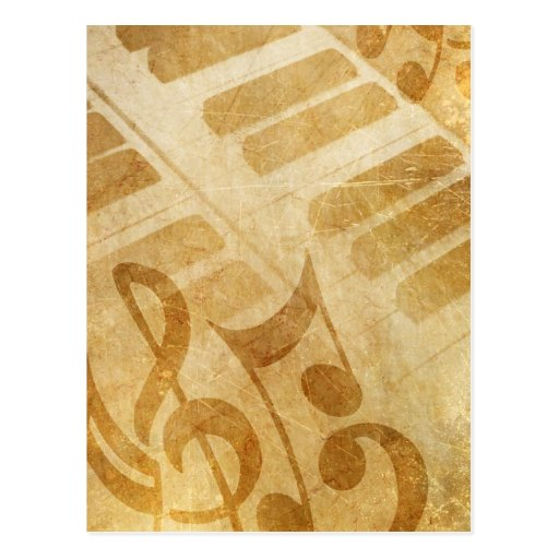 MUSICAL GRUNGE NOTES PIANO BACKGROUNDS FADED VINTA POSTCARDS