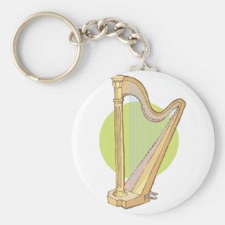 musical harp basic round button key ring