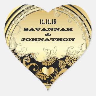 Musical Heart Black & Gold Vintage Damask Weddings Heart Sticker