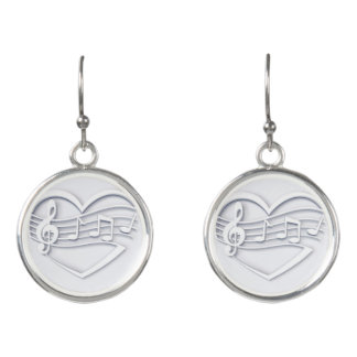 Musical heart earrings