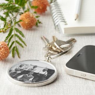 Musical Holiday Black White Premium Round Keychain
