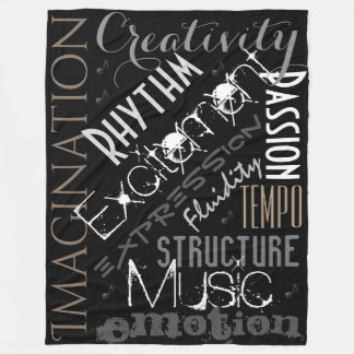 Musical Inspiration, Black,White Blanket Collage