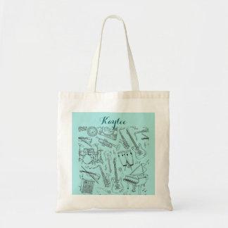 Musical Instrument Sheet Music Tote Bag