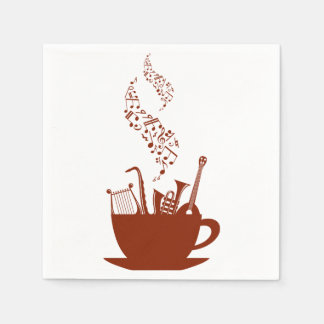 Musical Instruments And Notes Paper Napkins Disposable Napkin