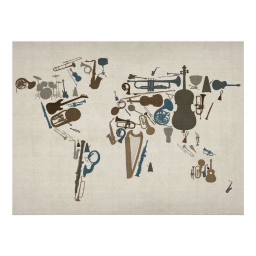 Musical Instruments Map of the World Posters