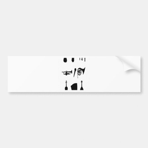 Musical instruments silhouettes design bumper stickers