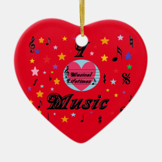 Musical Lifetimes 'I Love Music' Hanging Heart Ceramic Heart Decoration