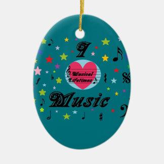 Musical Lifetimes 'I Love Music' Hanging Oval Christmas Ornament