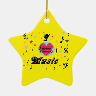 Musical Lifetimes 'I Love Music' Hanging Star Christmas Ornament