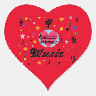 Musical Lifetimes 'I Love Music' Heart Sticker