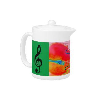 Musical Lifetimes Red Cello Teapot