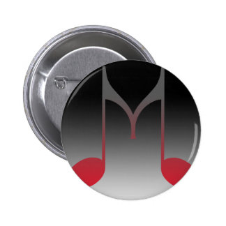 "Musical ""M"" Letter Pinback Buttons"