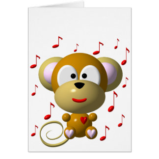 Musical monkey greeting cards