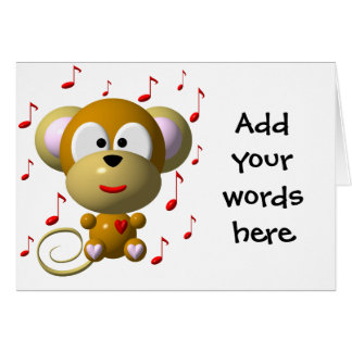 Musical monkey greeting card