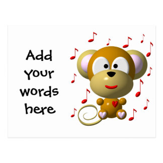 Musical monkey postcard