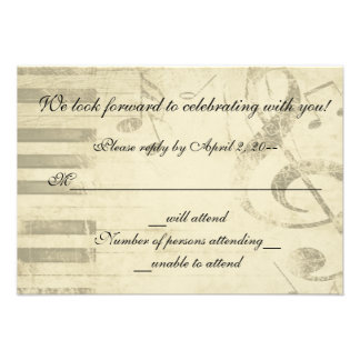Musical Music Design Wedding Invitation RSVP Reply