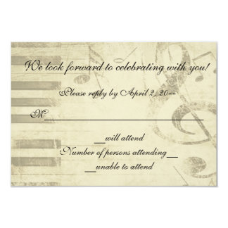 Musical Music Design Wedding Invitation RSVP Reply