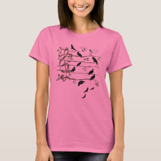 Musical Note Birds - black T-Shirt