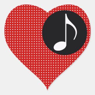 musical note ~ black heart sticker