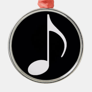 musical note ~ black Silver-Colored round decoration