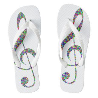 Musical Note Design Custom Adult, Wide Straps Flip Flops