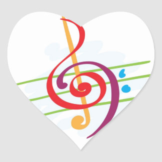 Musical Note Design Heart Sticker
