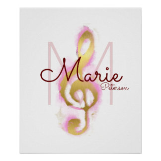 musical note (golden treble clef), girly monogram poster