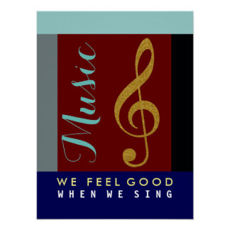 musical note, golden treble clef, music theme poster