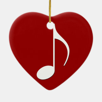 Musical Note on any color background Ceramic Heart Decoration
