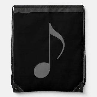 musical note on black drawstring bag