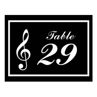 Musical Note Table Numbers (Black / White) Postcard