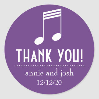 Musical Note Thank You Labels (Purple / White) Round Sticker