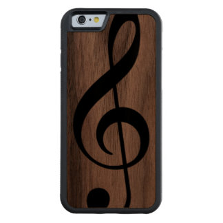 musical_note treble clef on wood walnut iPhone 6 bumper case