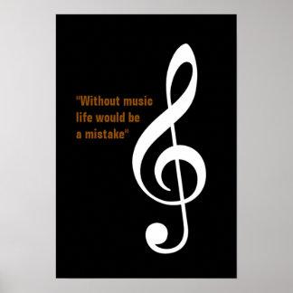 musical note treble gclef decor poster