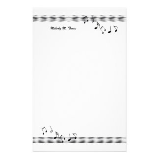Musical Note Waves Custom Stationery