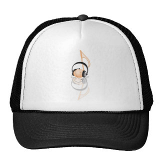 musical note with headphone trucker hat