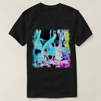 Musical Notes and Guitar Print T-Shirt