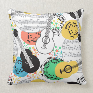 Musical Notes and Guitars Throw Pillow