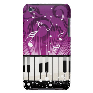 Musical Notes and Ivory Keys Purple Case Barely There iPod Cases