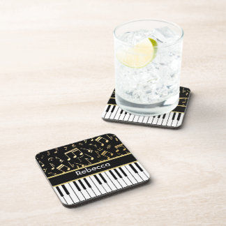 Musical Notes and Piano Keys Black and Gold Coaster