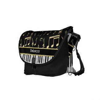 Musical Notes and Piano Keys Black and Gold Courier Bags