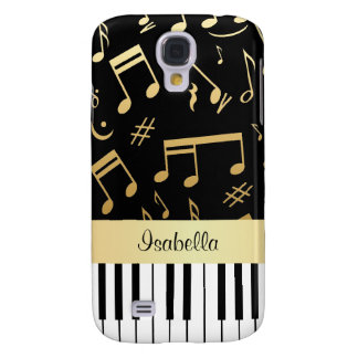 Musical Notes and Piano Keys Black and Gold Galaxy S4 Case