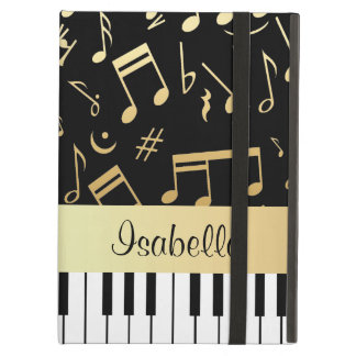 Musical Notes and Piano Keys Black and Gold iPad Air Covers