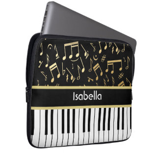 Musical Notes and Piano Keys Black and Gold Laptop Sleeve