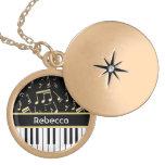 Musical Notes and Piano Keys Black and Gold Locket