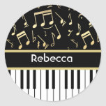 Musical Notes and Piano Keys Black and Gold Round Sticker